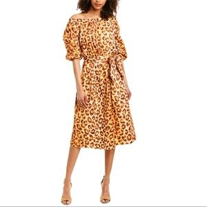 KATE SPADE Leopard Panther Puff Sleeve Midi Dress Women's Size 0 & 2 NEW